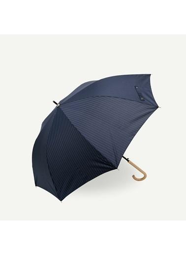 Yargıcı İnce Uzun Çizgili Şemsiye Lacivert